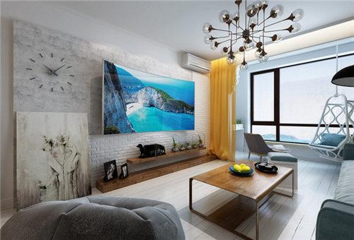 簡約北歐風格100平方米三室客廳電視墻裝潢效果圖