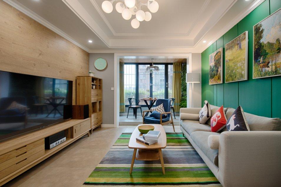 簡約風格110平方米三居室客廳茶幾裝修實景圖