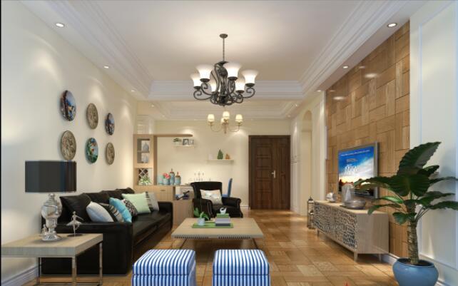 簡約風格120平米三居客廳背景墻設計效果圖