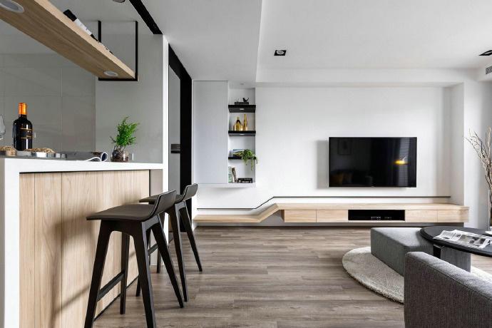 簡約風格150平方米三居吧臺裝飾效果圖片