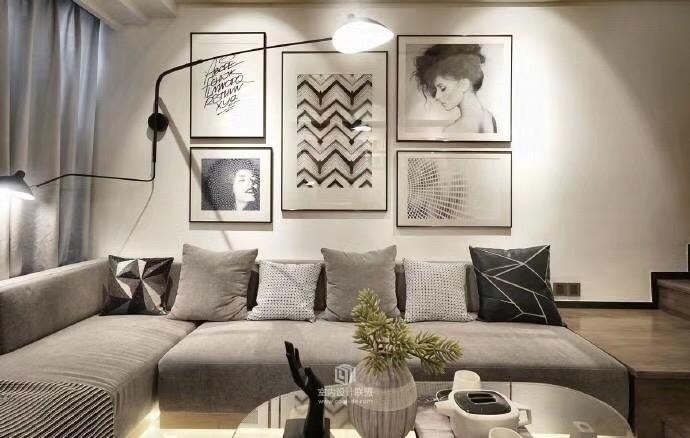 簡約風格80平米小戶型沙發背景墻設計圖片