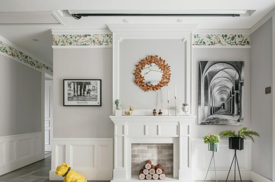 簡約美式風格房子客廳背景墻裝修實景圖2019
