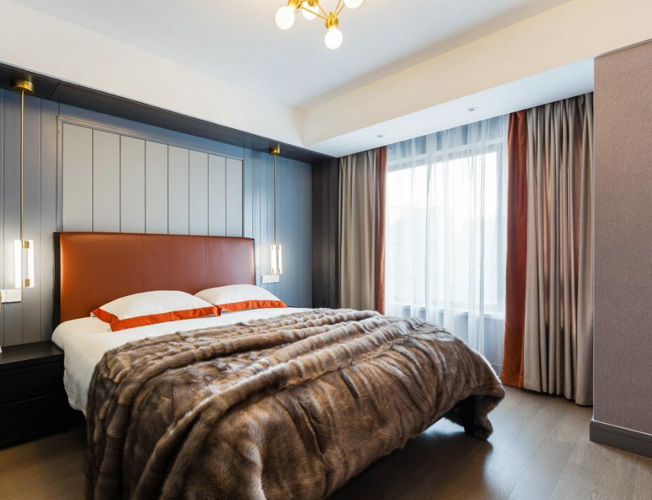 簡約美式風格房子臥室床頭燈具裝修效果圖一覽