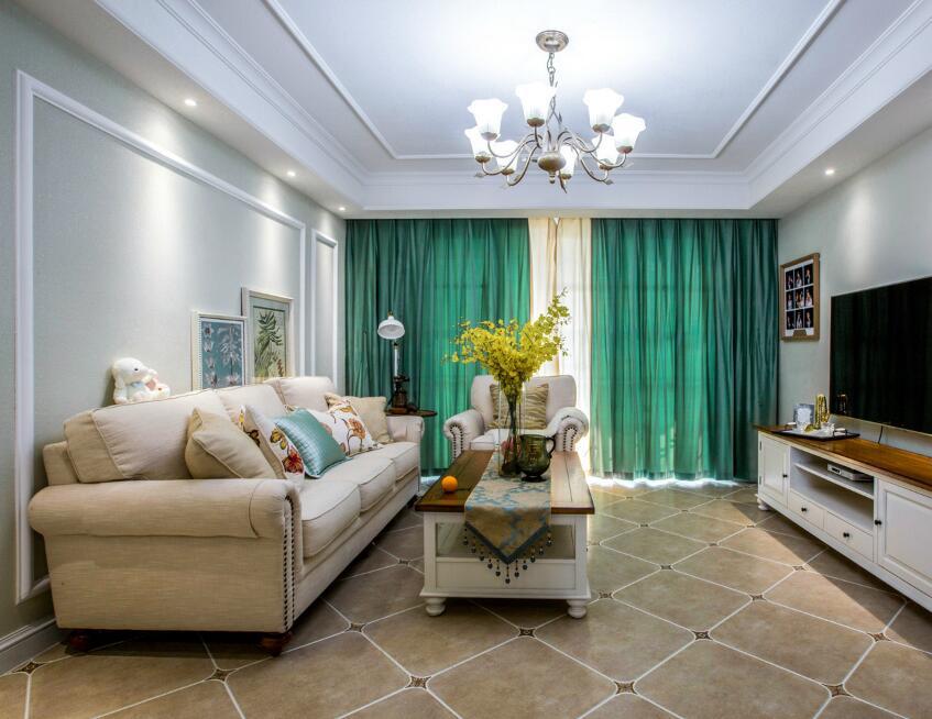 簡約美式風格家用客廳綠色窗簾裝修
