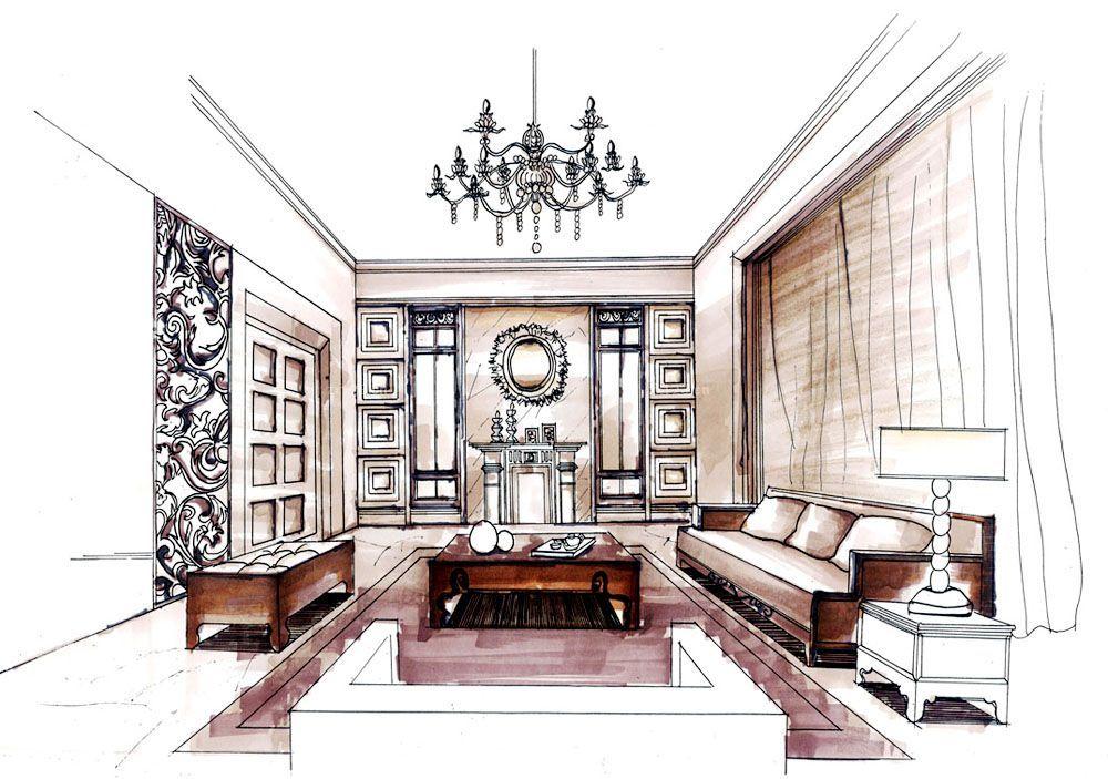 簡約農村別墅客廳裝修設計圖紙大全