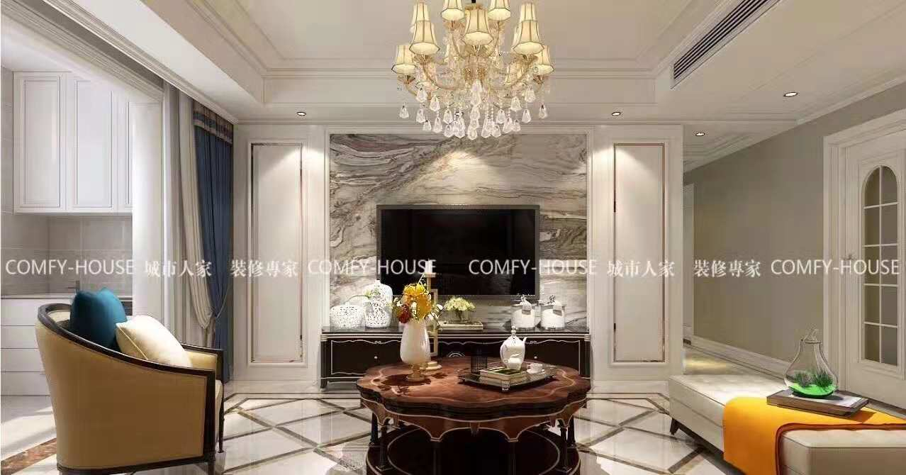 簡約歐式風格165平三居客廳電視柜裝潢效果圖