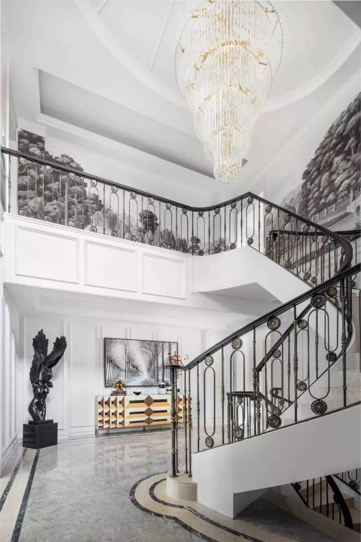 簡約歐式風格600平別墅樓梯間設計圖片
