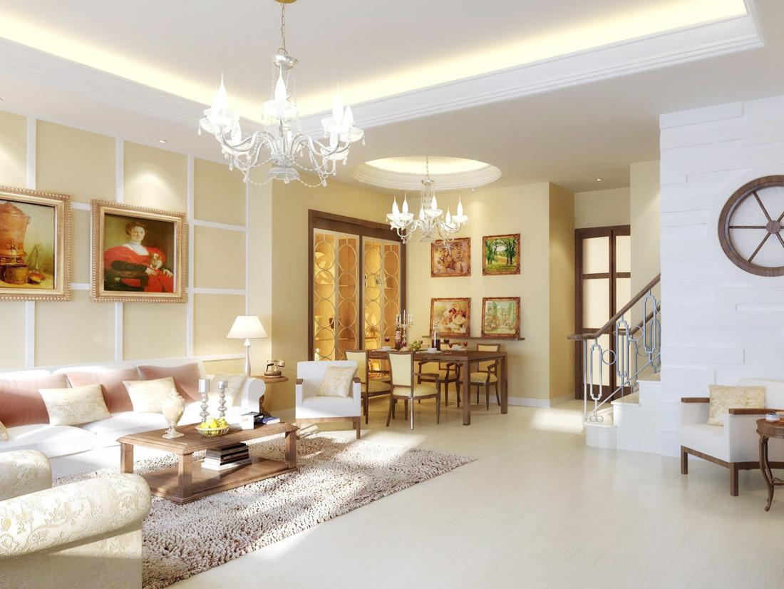 簡約歐式兩層別墅沙發裝修效果圖片