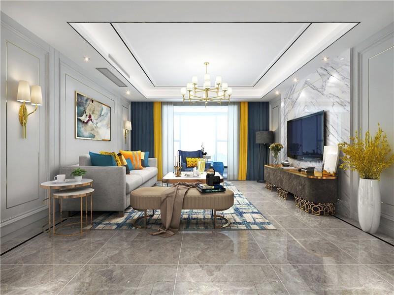 金域灣畔美式古典120三居室客廳裝修案例
