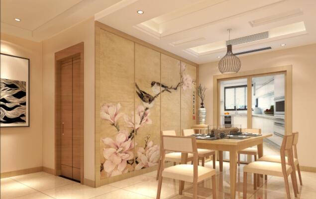 簡約新中式風格150平米三居餐廳背景墻裝修效果圖