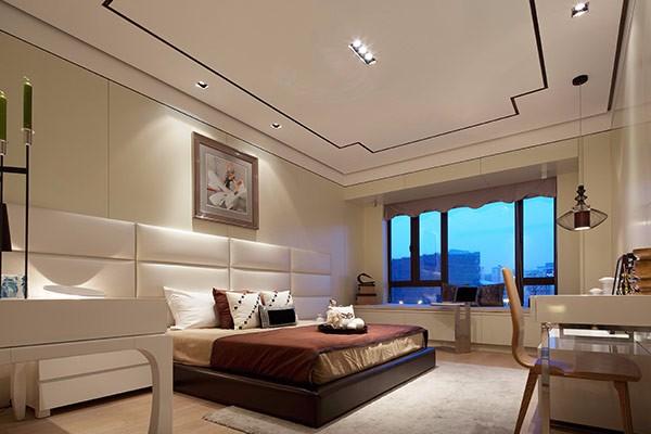簡約新中式風格300平米別墅臥室飄窗設計圖片