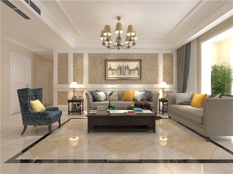 綠地生態國際城美式190平四居室客廳裝修案例