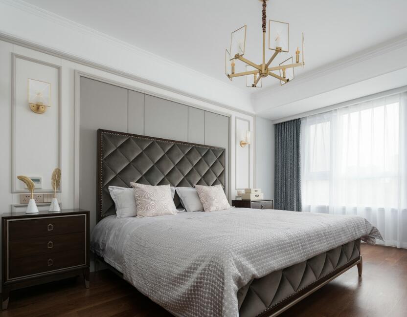 兩居樣板房主臥室床頭軟包裝修設計效果圖