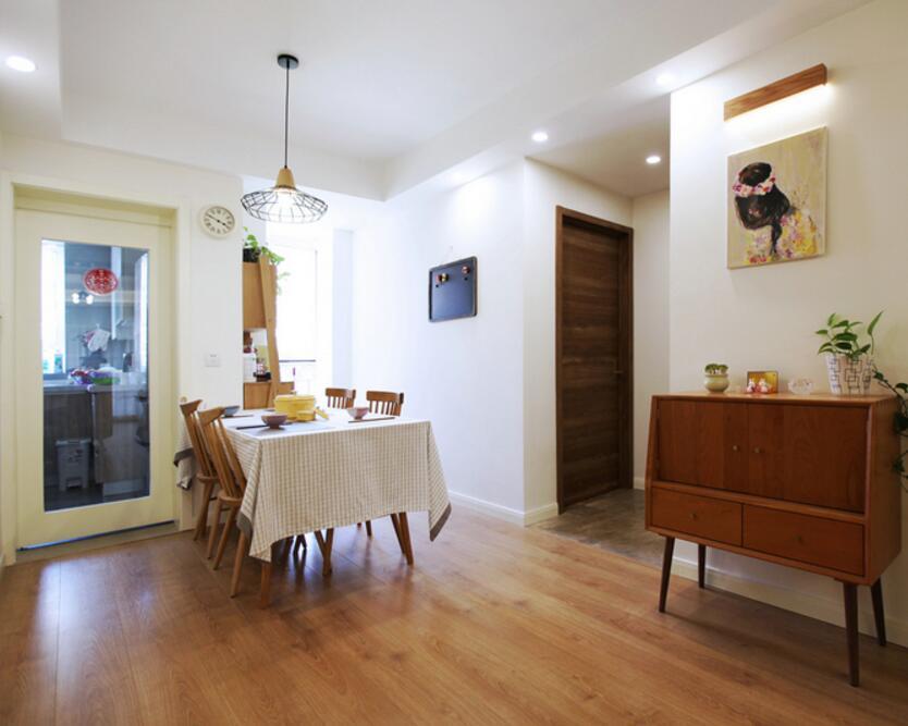 兩居裝修樣板房餐廳實木地板設計圖