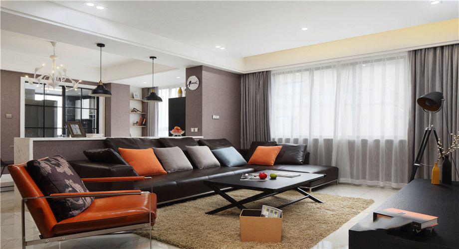 羅馬都市現代130平三居室客廳裝修案例