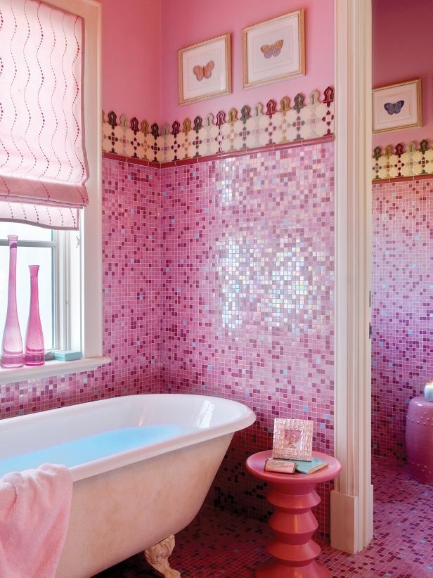 浪漫溫馨粉色系衛生間馬賽克墻磚設計圖片