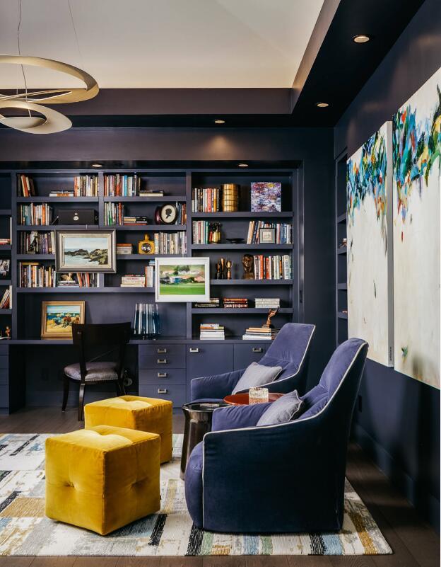 藍色家居書房休閑沙發擺放圖片
