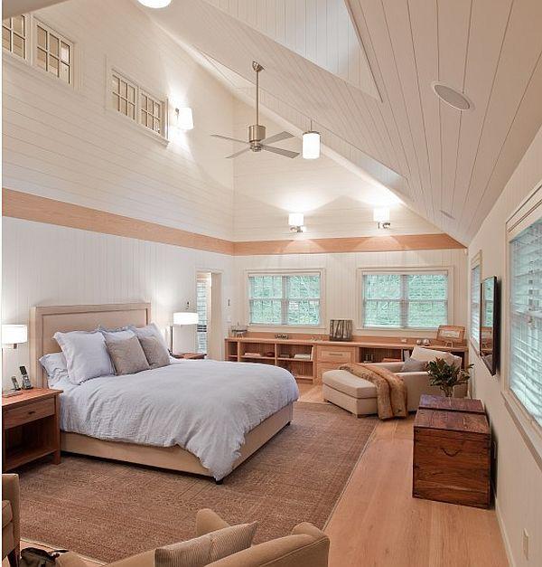 木別墅帶飄窗臥室斜頂吊頂裝修圖片