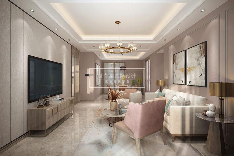 美的林城200平米現代簡約客廳裝修案例