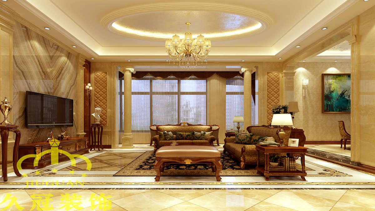 美式別墅客廳圓形吊頂裝修效果圖片