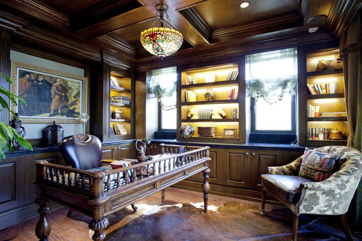 美式別墅室內書柜裝飾裝修效果圖片