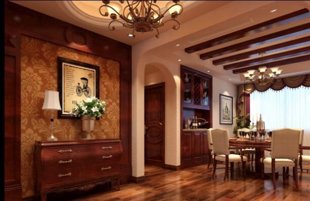 美式風格160平米四居室餐廳吊頂裝修效果圖