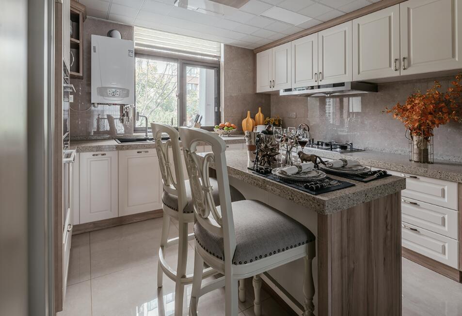 美式風格房子廚房開放式吧臺裝修圖片
