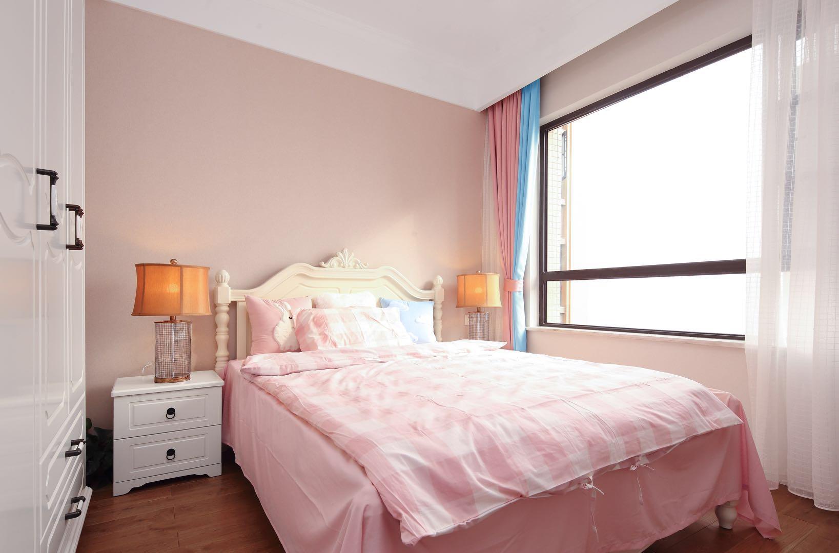 美式風格房子兒童房臥室粉色裝修效果圖