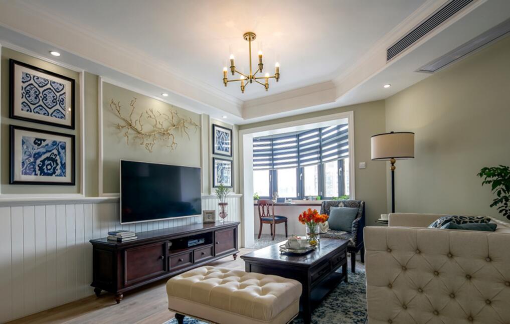 美式風格房子客廳電視柜實木裝修圖片