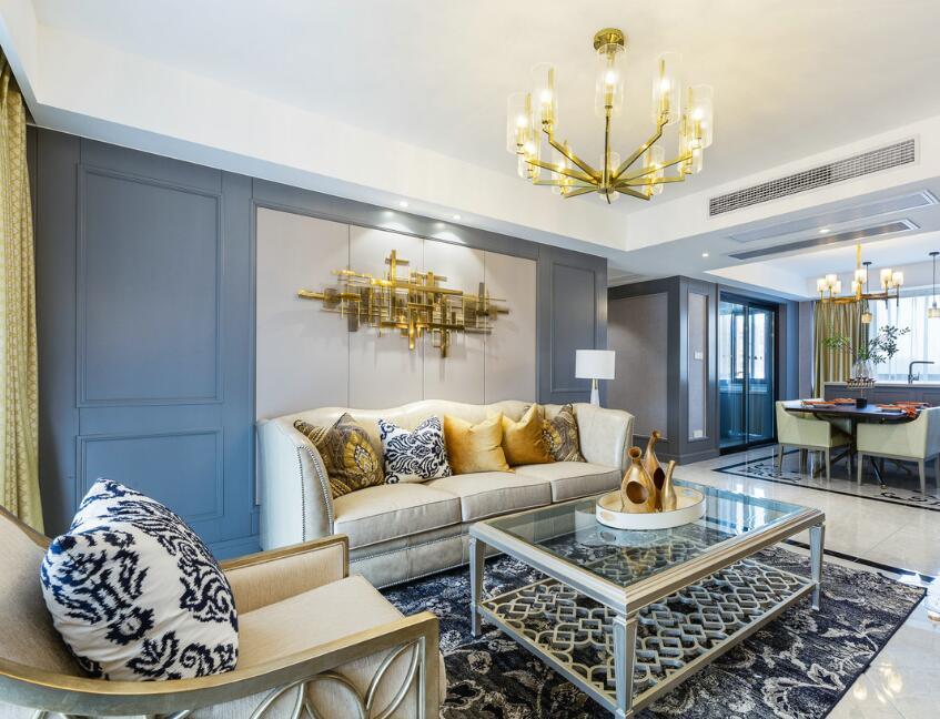 美式風格房子客廳雙層玻璃茶幾裝修實景圖