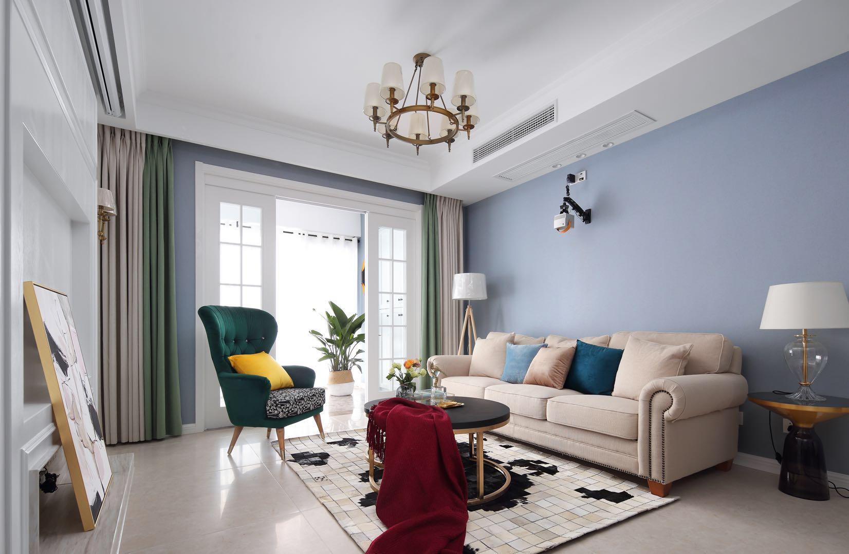 美式風格房子客廳沙發背景墻裝修裝飾
