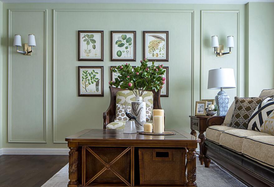 美式風格房子客廳實木茶幾裝修圖片