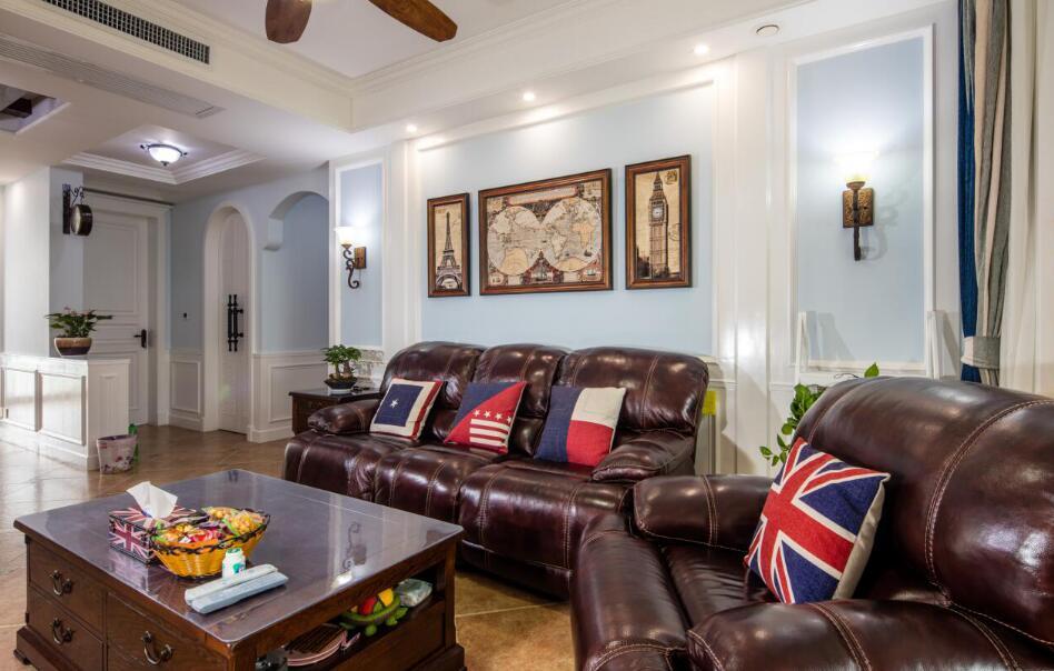 美式風格房子客廳真皮沙發裝修裝飾圖