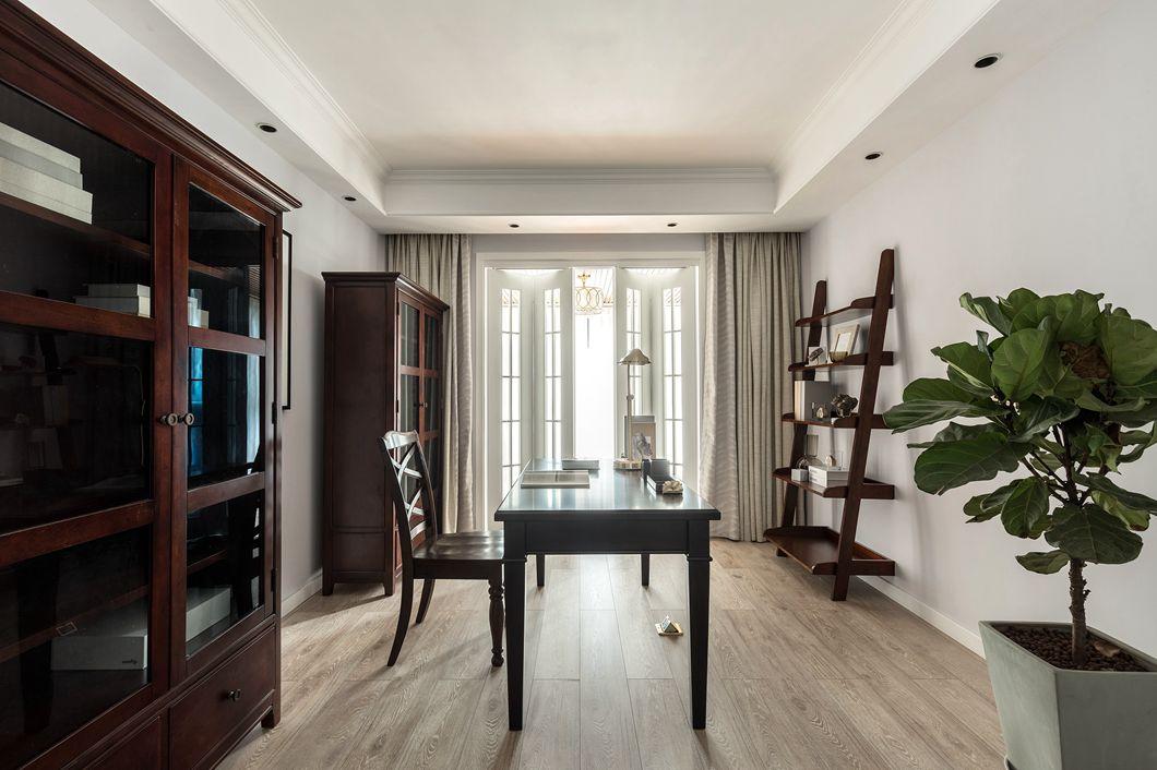 美式風格房子書房木紋地板裝修設計圖2019
