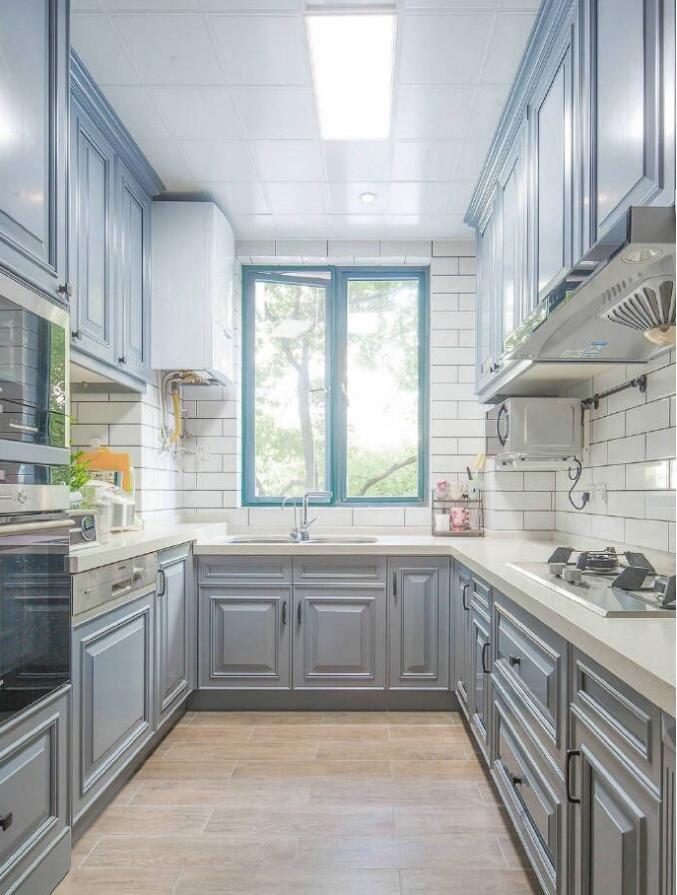 美式風格房子U型廚房裝修效果圖大全