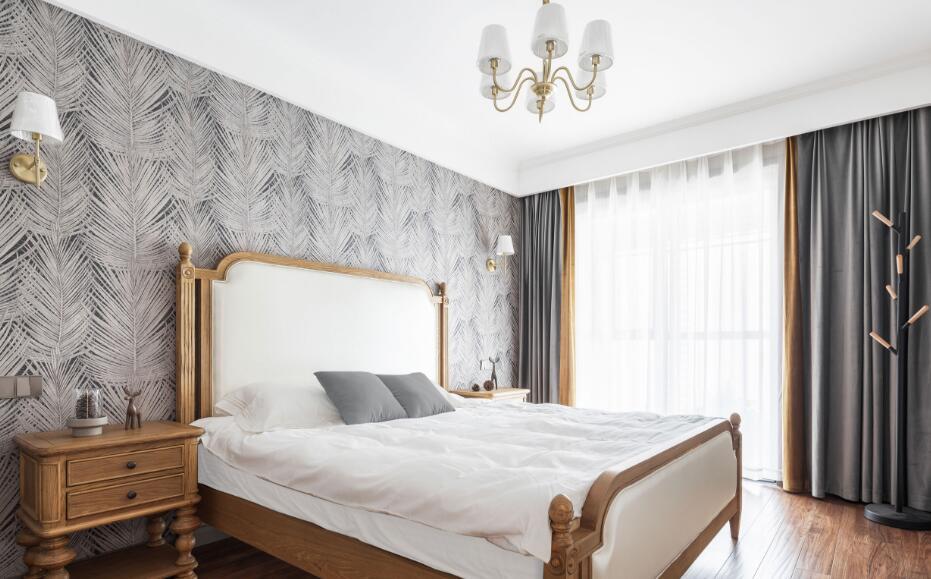 美式風格房子臥室背景墻壁紙裝修效果圖