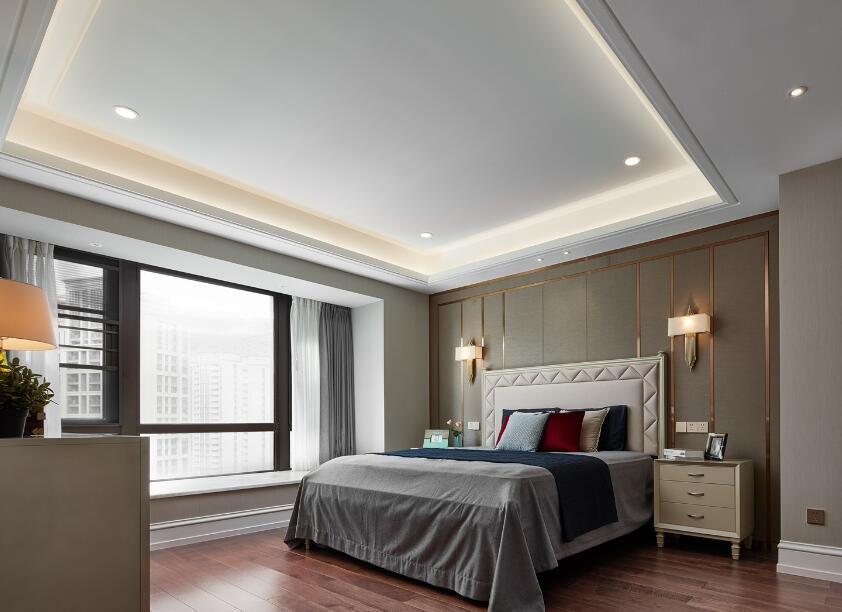 美式風格房子臥室床頭背景墻壁燈裝修效果圖