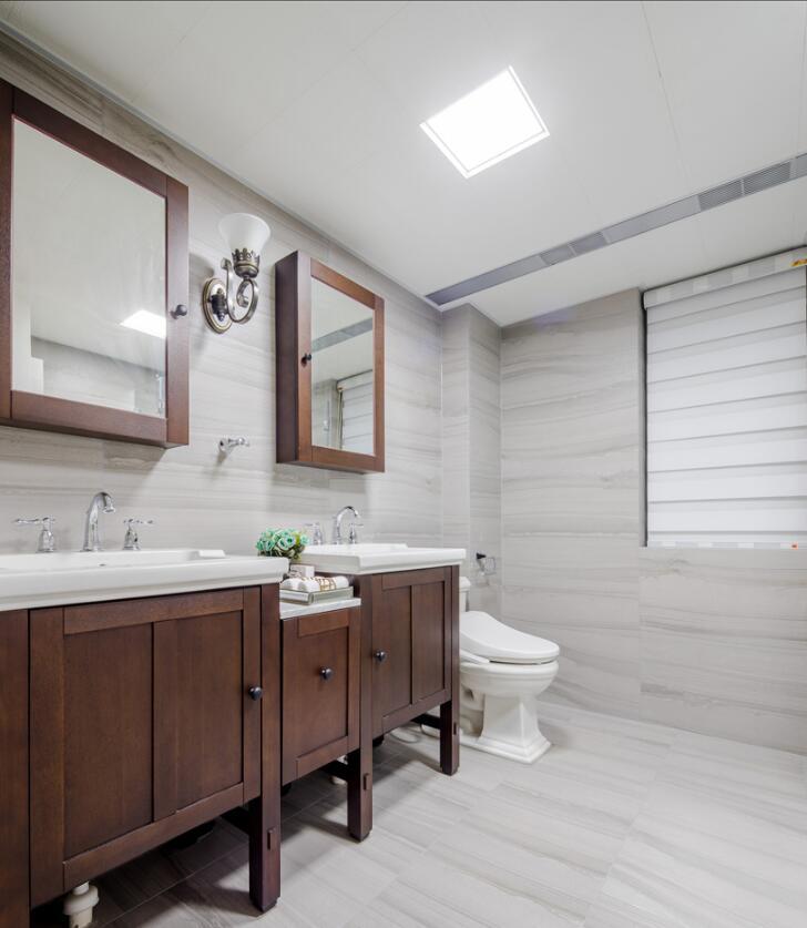 美式風格房子衛生間臺盆柜整體裝修效果圖