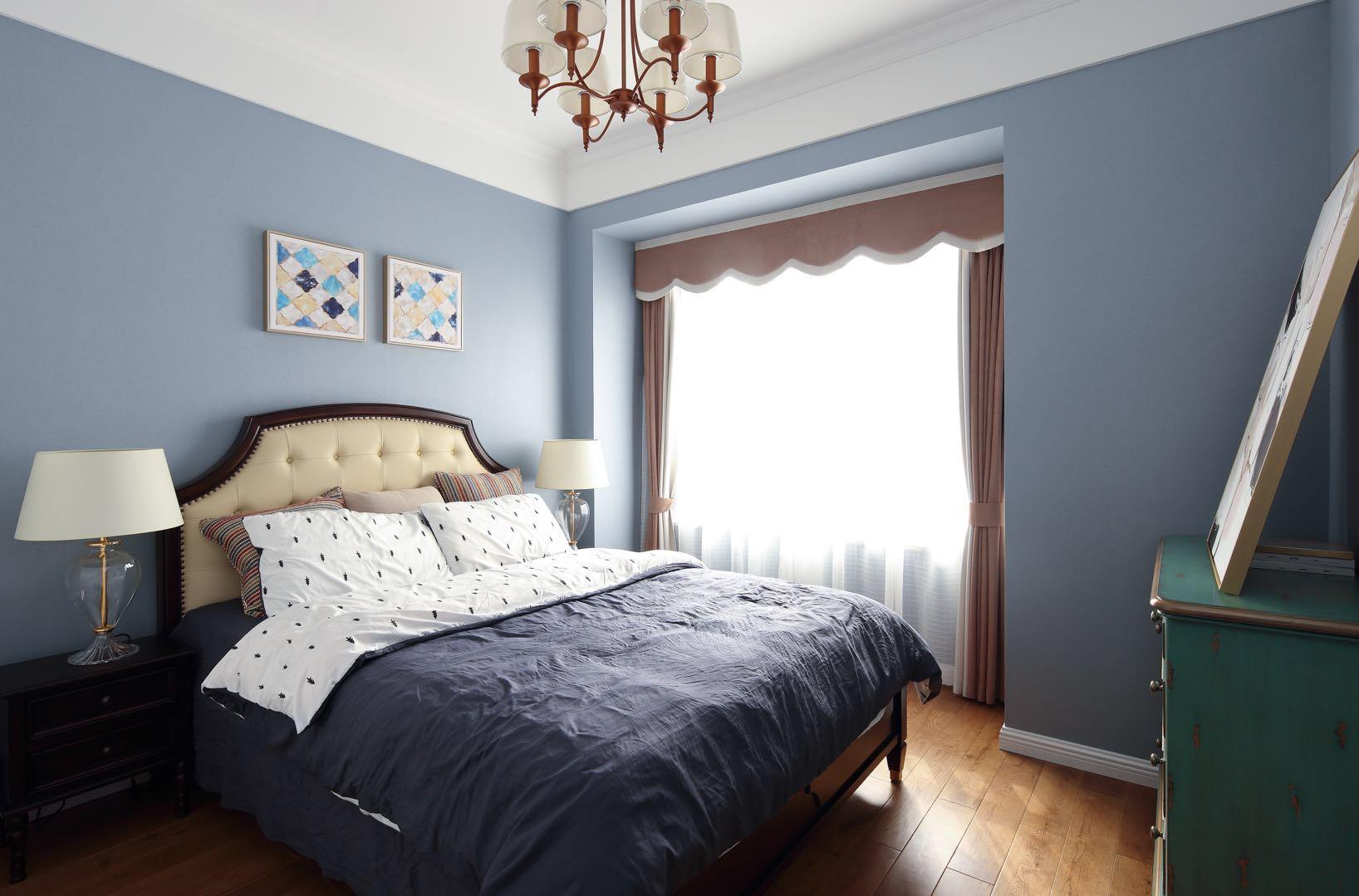美式風格房子臥室藍色墻面漆裝修裝飾圖片