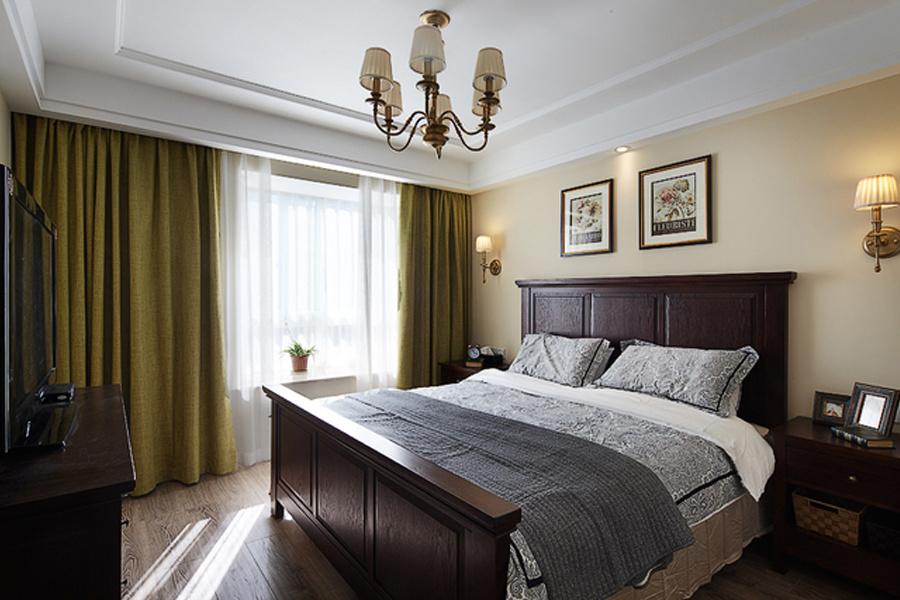美式風格家庭臥室實木床裝修設計效果圖