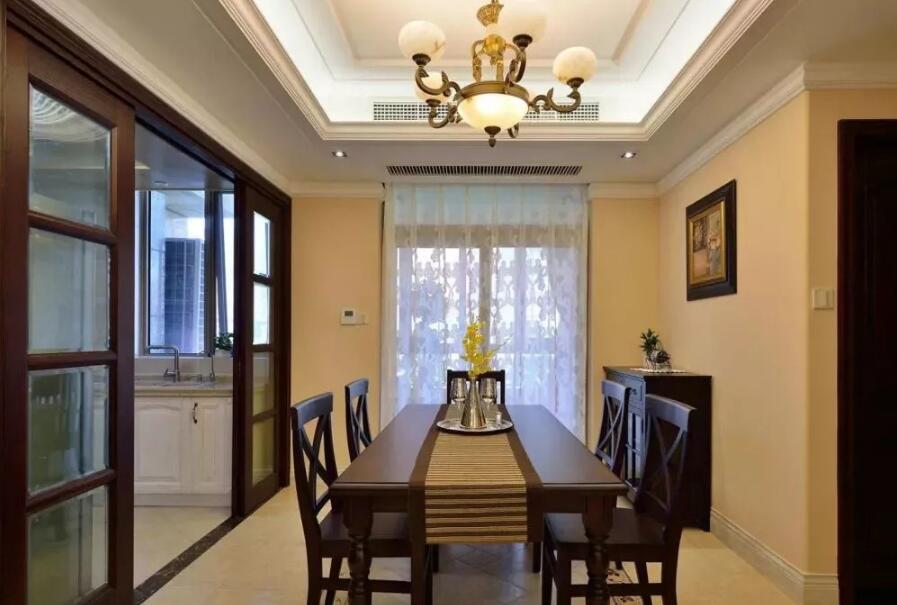 美式風格住宅餐廳廚房推拉門裝修圖片欣賞