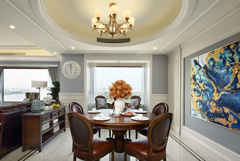 美式風格住宅餐廳圓形吊頂裝潢裝修圖片