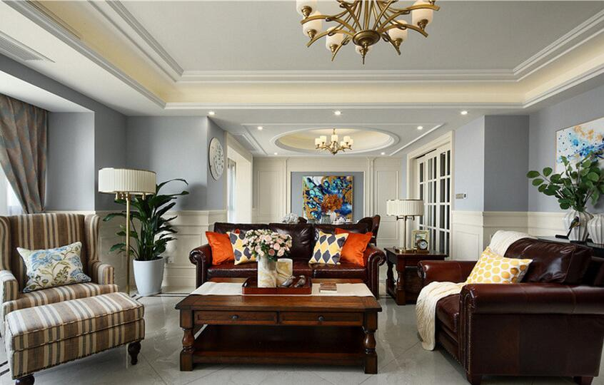 美式風格住宅客廳家具沙發裝修擺放圖片欣賞