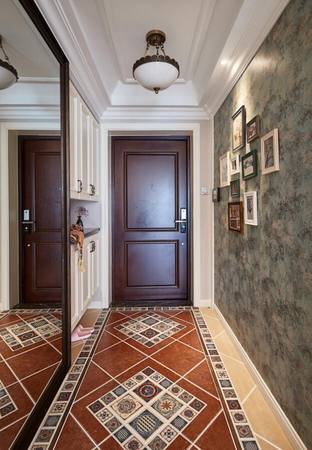 美式房屋玄關地板瓷磚裝修設計效果圖