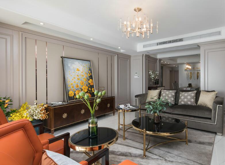 美式簡約風格房子客廳小茶幾裝修圖片