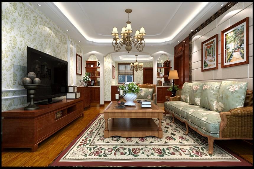 美式田園風格140平三居室客廳背景墻裝修效果圖