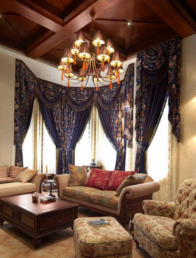 美式田園風格住宅客廳沙發裝修實景圖片