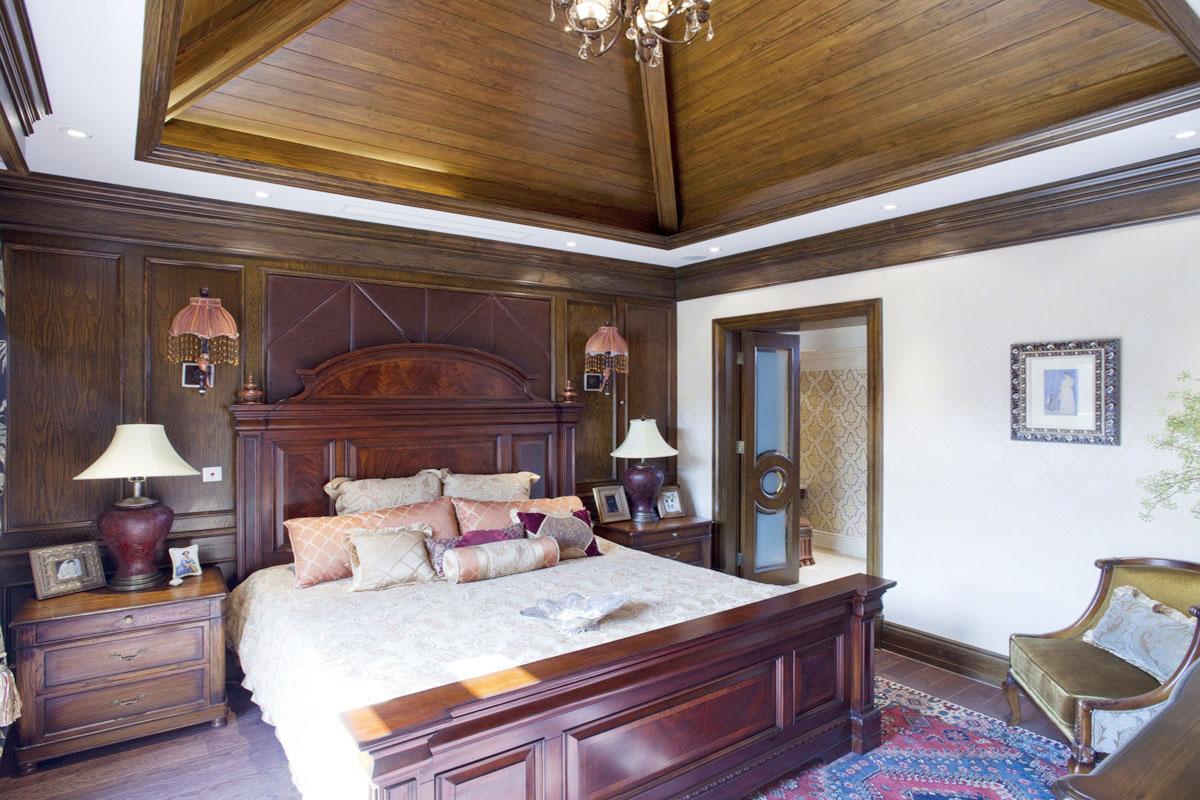 美式臥室木質吊頂裝修效果圖片別墅