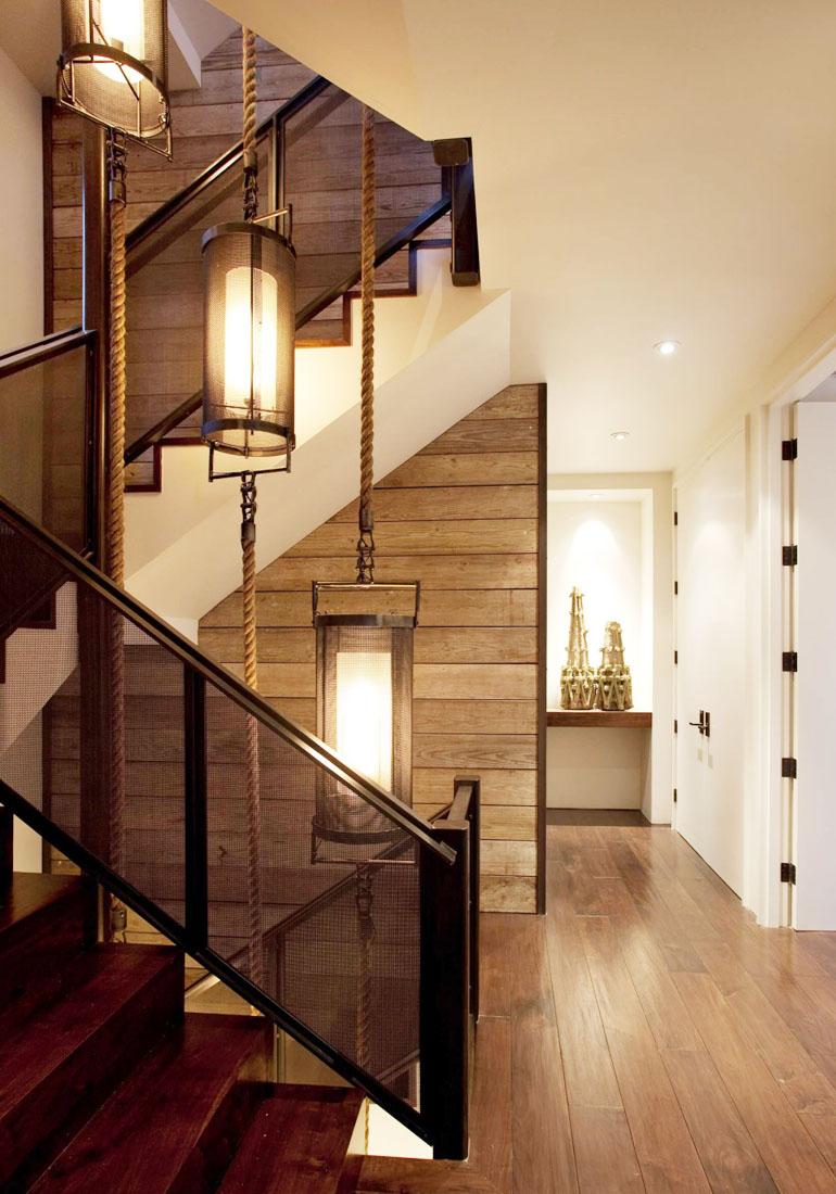 美式鄉村風格三層別墅樓梯效果圖大全