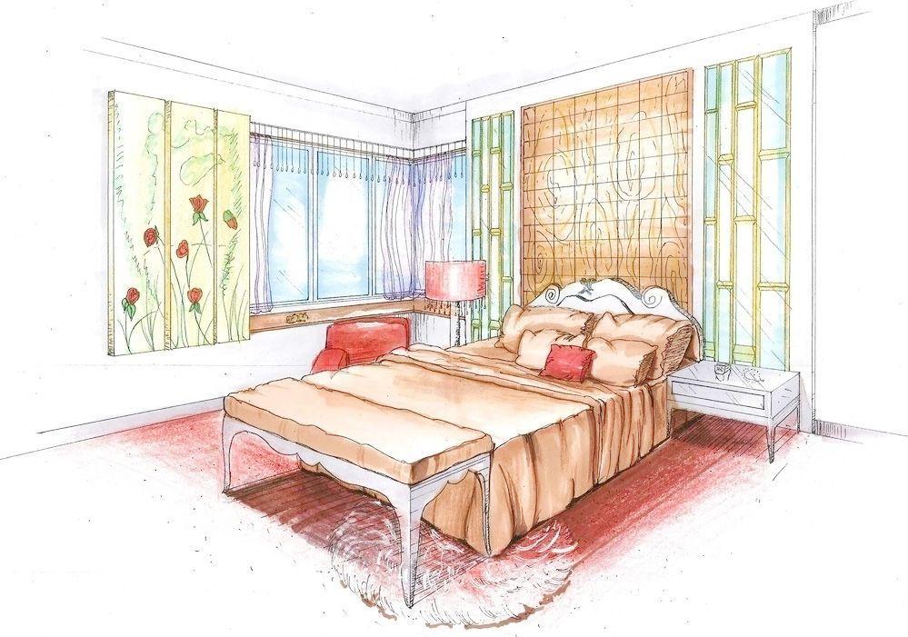 農村別墅家裝臥室手繪設計圖紙大全